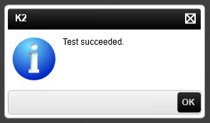 Small information dialog reports 'Test succeeded'