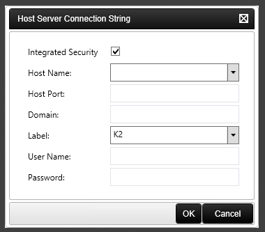 The Host Server Connection String dialog.