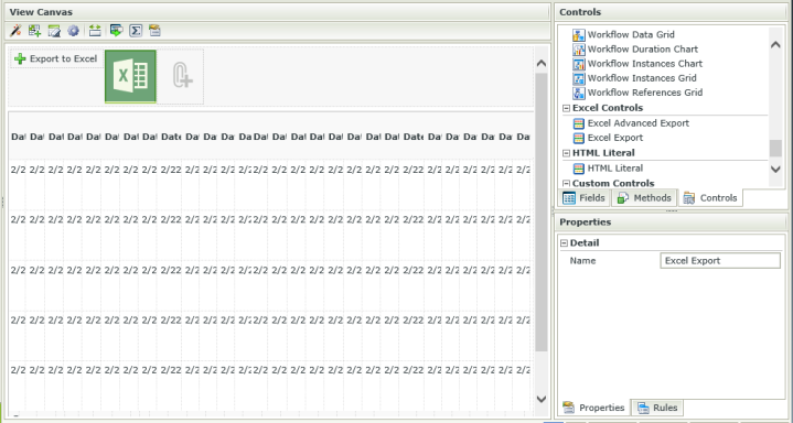 The K2 SmartForms Designer with a List View loaded, and new controls being added to the view.