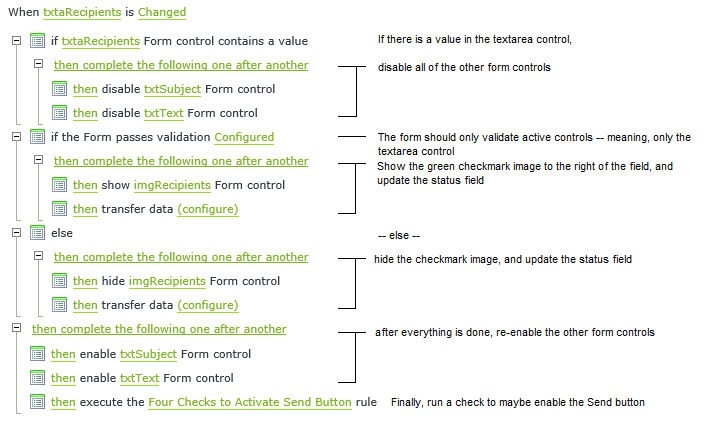 Changed event rule for the textarea control