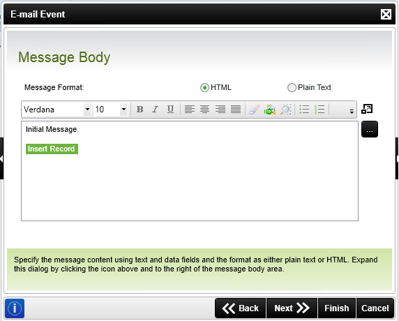 The image is of the message body panel of the K2 blackpearl E-mail Event wizard. The message body shows the SmartObject call below the message body text.