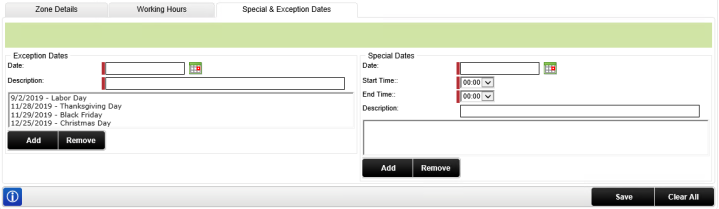 Special & Exception Dates Configuration