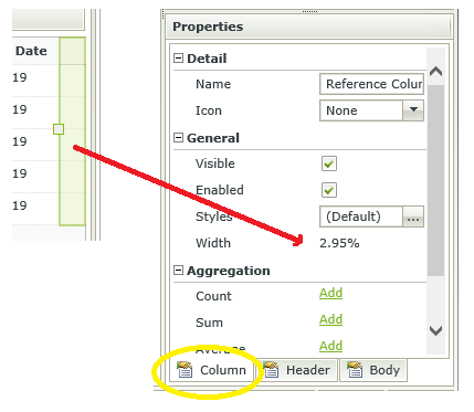 Image of the right edge of a K2 SmartForms List View and of the column properties, showing the width of the column